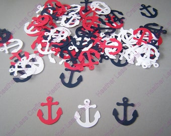 Red White Blue Anchor Confetti, Patriotic Anchor,  Nautical Die Cut, Anchor Cut Out, Nautical Party, Patriotic Theme, Nautical Baby Shower