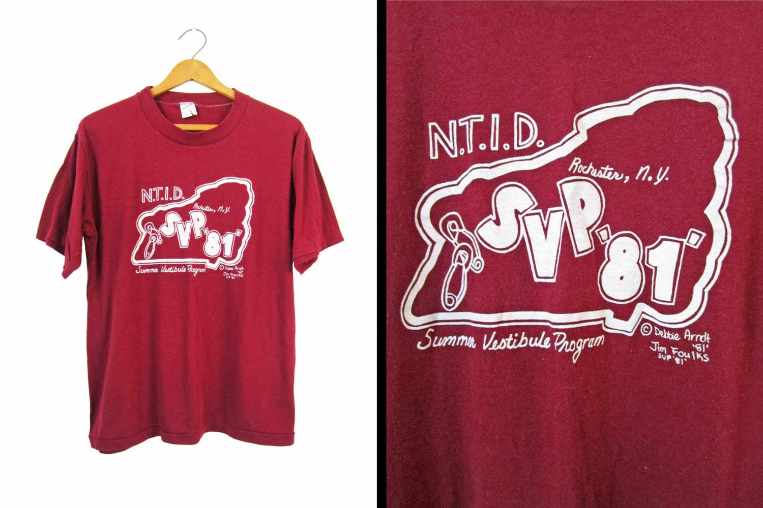 Vintage 80s college t shirt rochester ny rit burgundy new york for T shirt printing in rochester ny