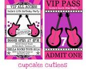 Rock Star Royalty Rockin Guitar  VIP lanyard Badge Custom Invites Digital Invitations  Printable - U Print Girls