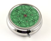 Elegant Pill Box, Emerald Green and Magenta Pink Design in Silver Tone, Pill Organizer, Pill Holder or Trinket Box