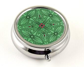 Elegant Pill Box, Emerald Green and Magenta Pink Design in Silver Tone, Pill Organizer, Pill Holder or Trinket Box