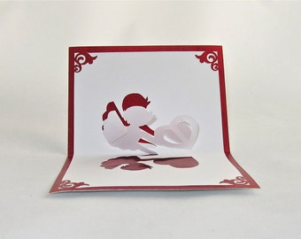 VALENTINE'S  CUPID 3D Pop Up Greeting Card Home Décor Handmade Cut by Hand Origamic Architecture in Metallic Red and White One Of A Kind
