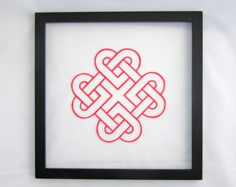 VALENTINES CELTIC HEART Eternity Love Knot Silhouette Paper cut. in Bright Red Engagement & Wedding Gift Wall Art Décor Hand cut OOaK