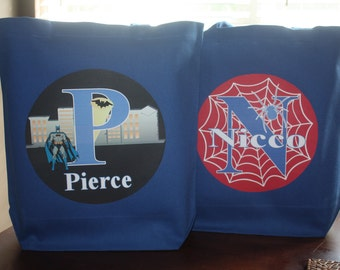 Large Personalized Superhero Tote  Bag