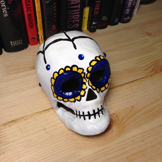 Blue and Yellow Day of the Dead Paper Mache Skull
