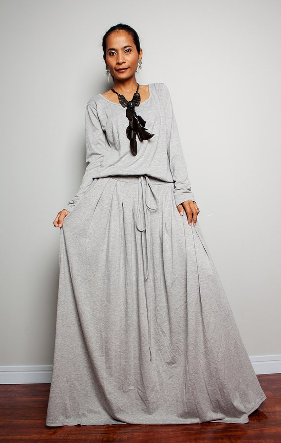 plus size maxi dress light grey long sleeve dress : autumn