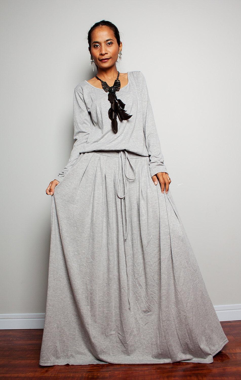 PLUS SIZE Maxi Dress Light Grey Long Sleeve dress : Autumn