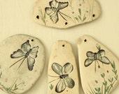 Clay Craft Supplies - Stoneware Butterflies - Vintage Ceramic Mosaics - 1980's Mobile Art
