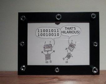 Cartoon of  Two Funny Robots that Make a Joke in black wooden frame 5x7 in ON DEMAND