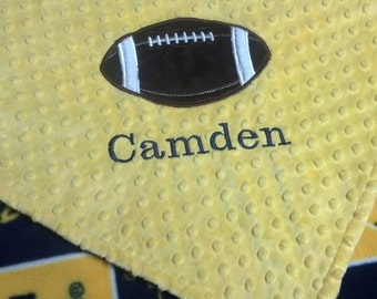 Personalized University of Michigan Fleece and Minky Blanket with football applique