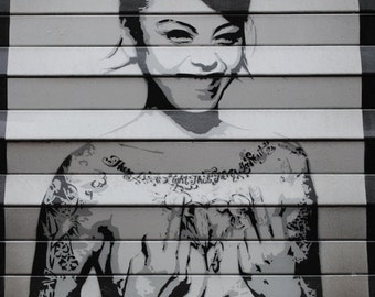 Laughing Girl Graffiti, Fine Art Photography Print, Northern Quarter Manchester, Urban Art Print, Neutral Home Decor, Black, Silver Wall Art