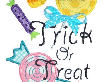 Candy Trick Or Treat  Embroidery Design Machine Applique
