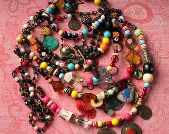 Tribal Gypsy Necklace. Colorful Necklace, Tribal Belly Dance Jewelry, Summer Festival Necklace, Free Spirit, Bohemian Chic Statement piece