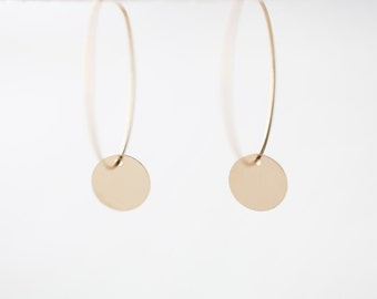Gold Coin Hoops Earrings - chic and modern minimalist everyday jewelry by petitor