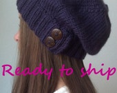 READY in NAVY BLUE - Knit slouchy hat -  (choose your button)