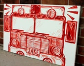BIG red fire truck art . 20x32 . personalized art on canvas . hand painted original red engine. bedroom decor . sincerelyYOU melanie keskine