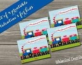 INSTANT DOWNLOAD Kids Valentines Cards, Train Valentines (Set of 4 - I Cho Choose You Design) DIY Printable
