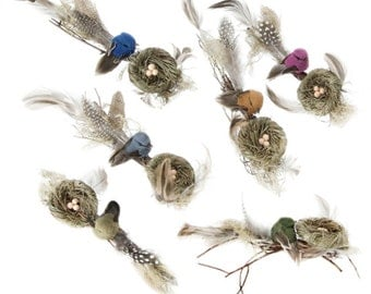 "CLEARANCE! Bird with Nest and Twigs, 6"" long, Choice of Color, with Alligator Clip -  Embellishment, Decor, Wreath & Floral Supply"