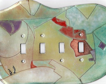 enameled copper light switch cover/ quad toggle