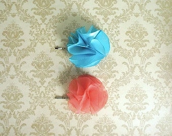 Blue and Coral Flower Girl and Bridesmaid Hair Pins