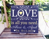 """11x11 Wooden Sign """"Love Is All You Need"""" sign with beautiful embelishment, includes couples name and established date"""