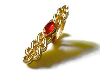 Vintage Tie Clip 1940s Red Rhinestone Art Deco