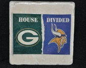 Packers and Vikings Divided Coasters Set of 4 handcrafted