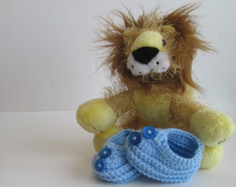 Crochet Baby Booties - Baby Blue with Dark Blue Buttons - Newborn to 3 Months