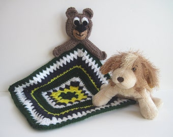 Crochet Granny Square Security Blanket for Baby - Teddy Bear with Yellow, Green & Blue Square