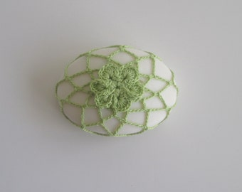 Soap in Crochet Flower Cover - Wasabi Green Cotton