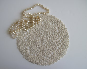 Crochet Doily - Natural Ecru - Small Round - 8 1/2""
