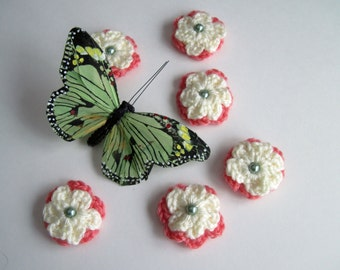 6 Crochet Flower Appliques - Coral and Off White - Sage Green Beads (Set of 6)