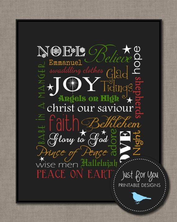 Religious Christmas Wall Decor : Christmas wall art typography subway by uprintabledesigns