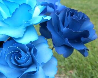 Blue Ombre Wild Roses, Half Dozen. Or CHOOSE YOUR COLORS. Centerpiece, Wedding, Paper Flower Bouquet