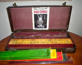 Vintage Bakelite Mahjong Game Set in Original Case - Rare and Highly Collactable - 100 Hundred Dollars Off SALE