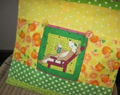 "14"" x 14"" PILLOW COVER -  Pampered Pet Pooch Kicks Back in Warm Sunshine Drinks Citrus Juice - A dog's Life"