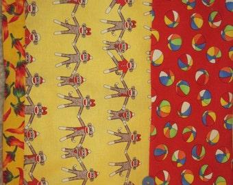 "14"" x 14"" PILLOW COVER - Vintage Sock Monkeys Stuffed Animal Family Plays Beach Balls"