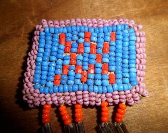 Vintage 1940's Native American Beaded Brooch