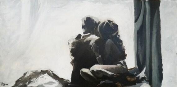 Romantic Couple Painting In Love Wedding