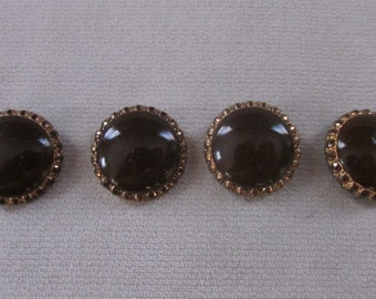 Vintage Domed Dark Chocolate Brown Buttons, Vintage Glass  Buttons Set of 4, Vintage Sewing Supplies