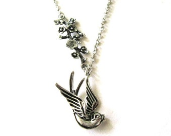 Swallow necklace branch jewelry antiqued silver simple victorian vintage style necklace