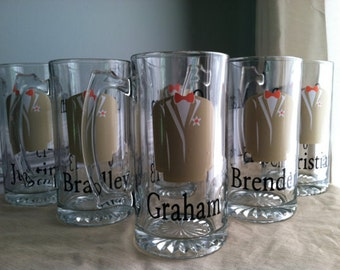 10 Personalized Wedding Groomsmen Tuxedo Beer Mugs / Steins