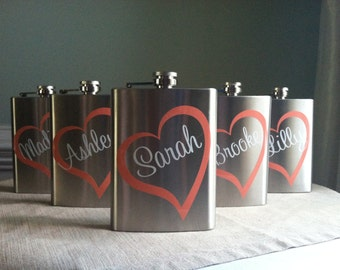 6 Personalized Bridesmaid Stainless Steel 8 oz. Flasks