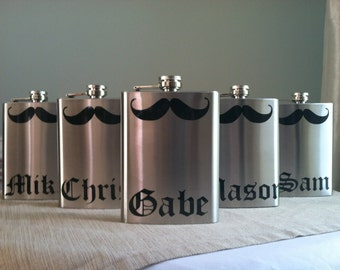 5 Personalized Groomsmen Mustache Stainless Steel 8 oz. Flasks