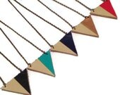 Red color blocked triangle necklace, geometric necklace, leather triangle necklace