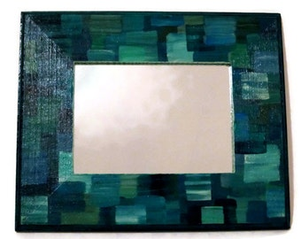 Mirror Teal and Blue Layered Squars Frame the 8 x 10 Rectangle Hand Painted
