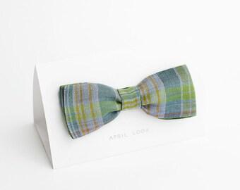 Green bow tie, tartan bow tie - double sided