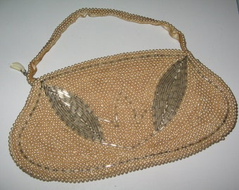 VINTAGE EVENING PURSE Beaded Pearl Bag