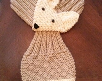 Adjustable  Fox Scarf Hand Knit Scarf / neck warmer  for kids or adults.   Beige