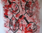 silkscreened and painted tribal fabric made by Diz from Diz Has Neat Stuff